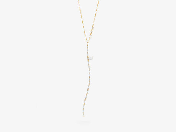 Curved Diamond Pavé Bar Pendant Necklace with Pearl Detail