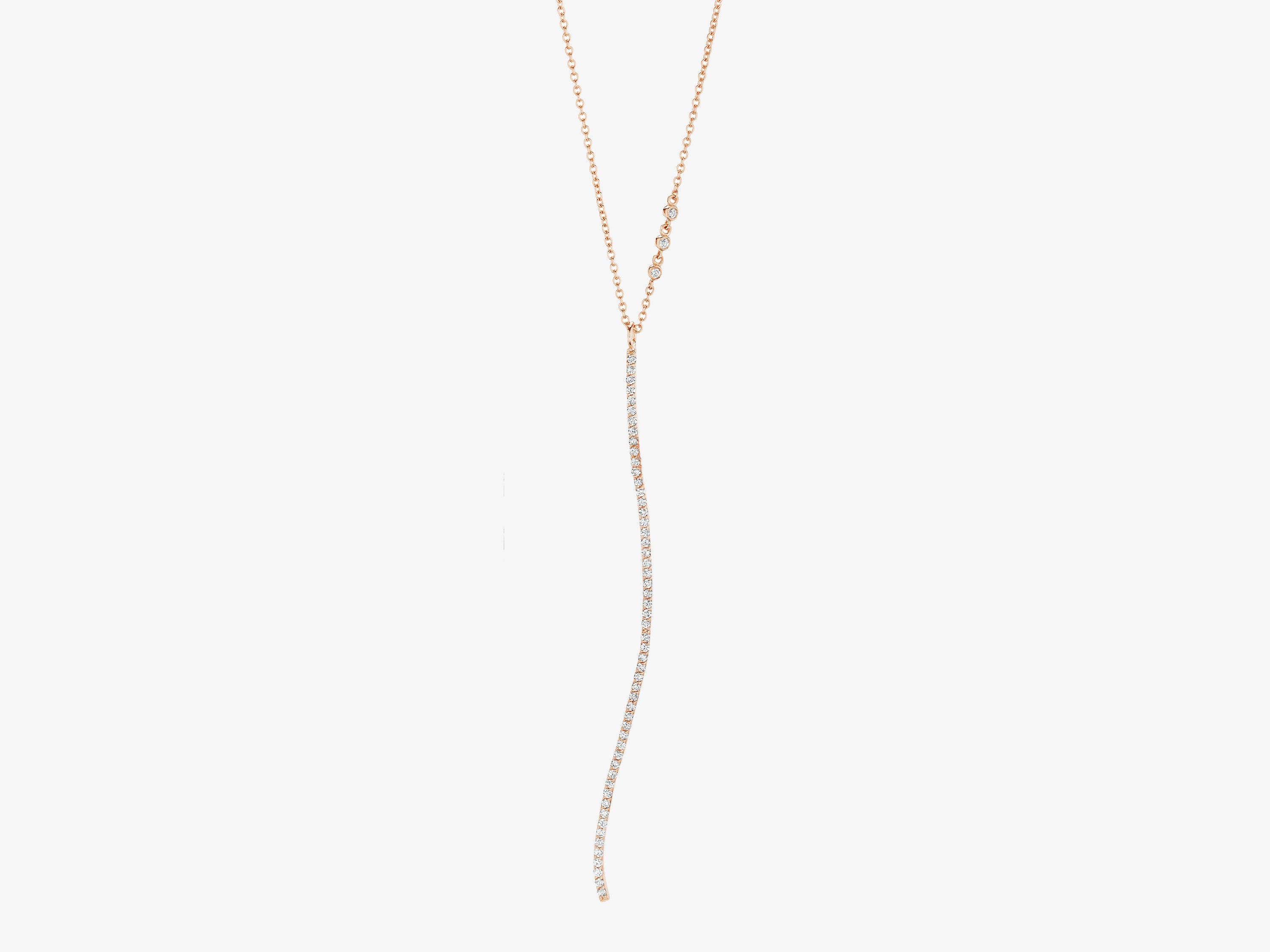 Infinity Curved Diamond Pave Bar Pendant Necklace