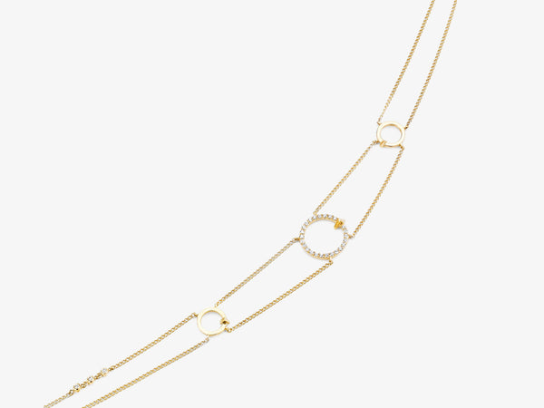 Three Circle Chain Collar Necklace with Diamond Pave and Triangle Station Details