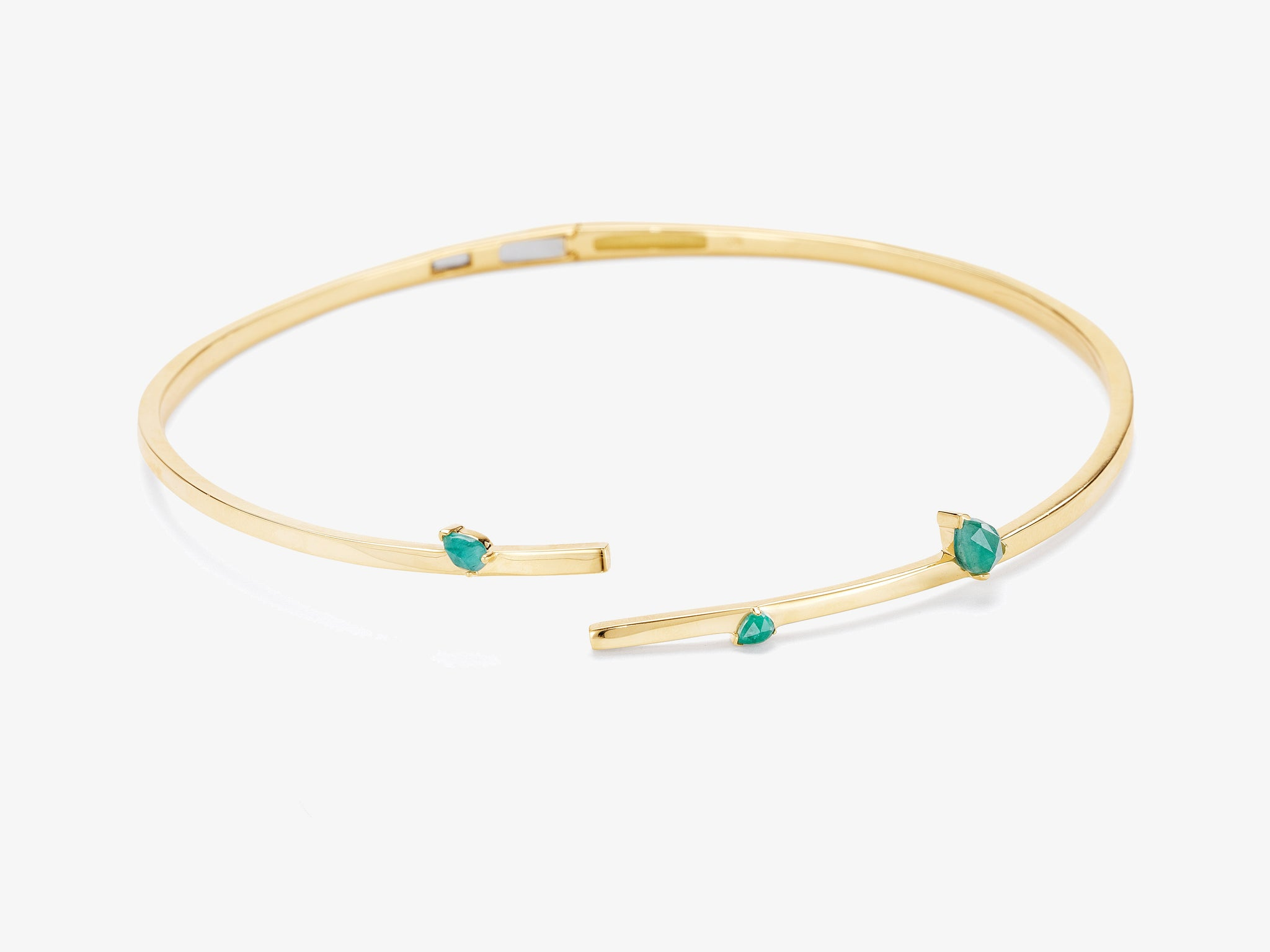 Asymmetrical Hinged Collar with Pear Shaped Gemstone