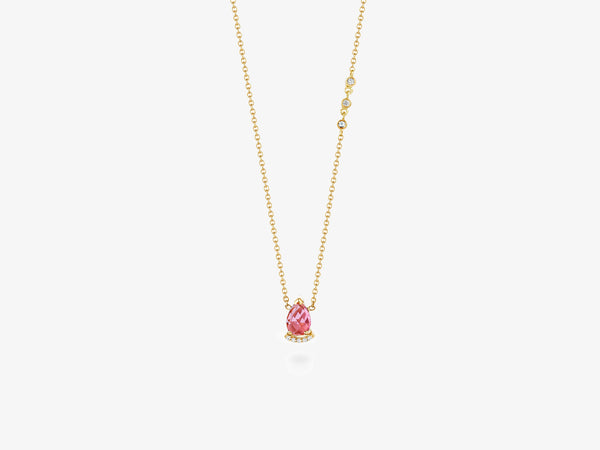 Choker Necklace with Rose Cut Stone and Diamond Pave Bar