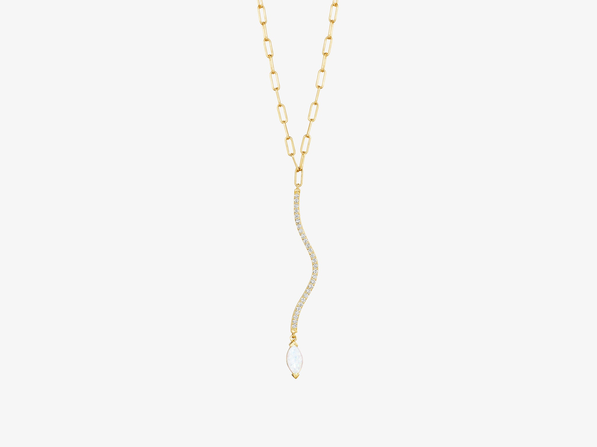 Curved Diamond Pave Bar Necklace with Marquise Gemstone