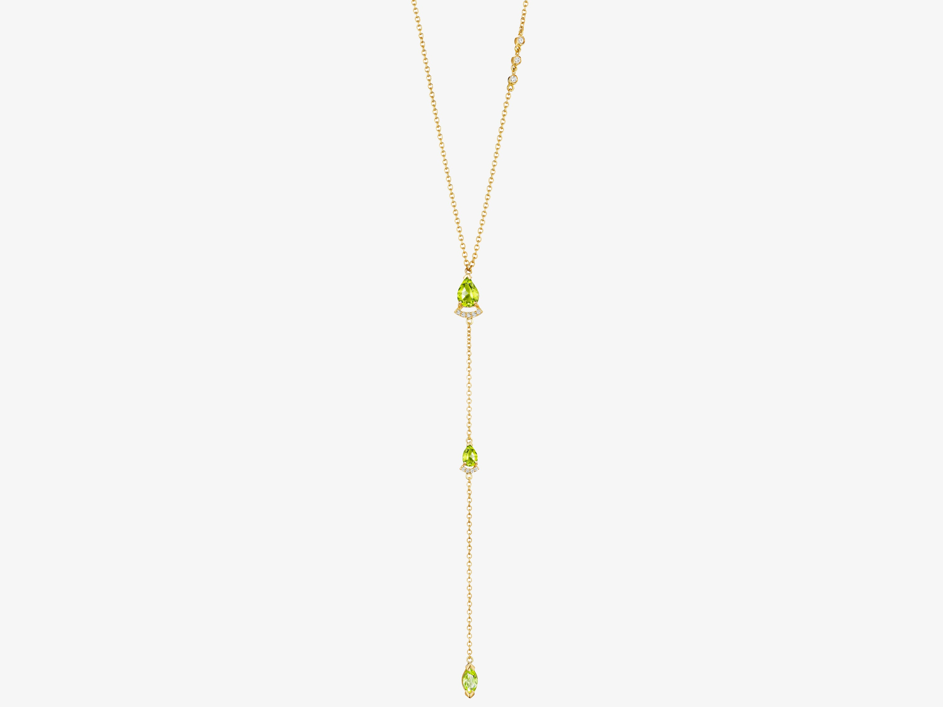 Necklace with Pear Shaped Gemstones and Marquise Gemstone Drop