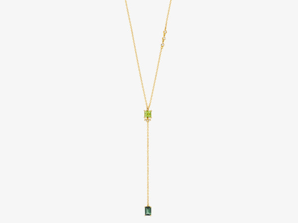 Necklace with Square Gemstone and Rectangle Gemstone Drop
