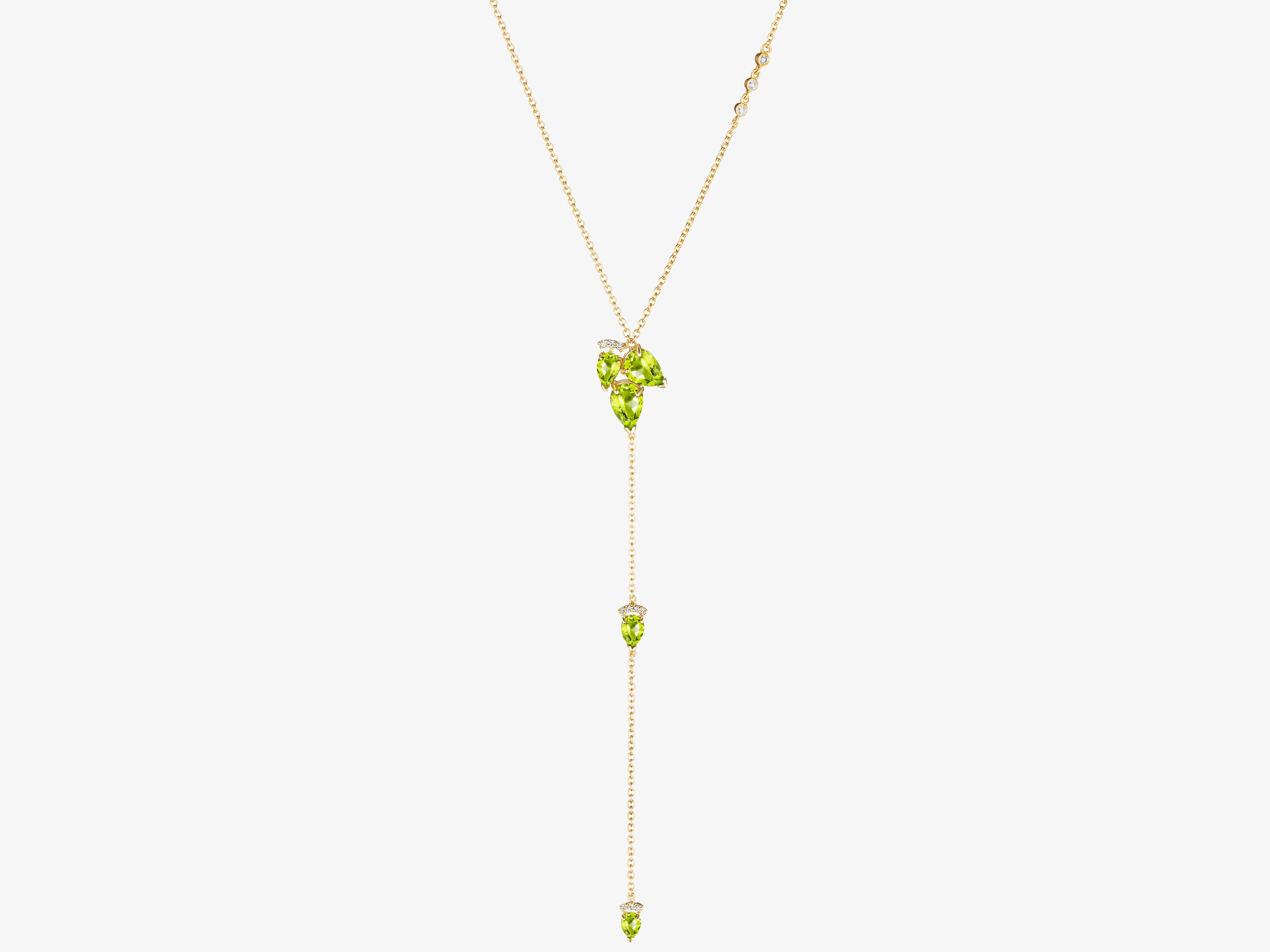 Necklace with Pear Shaped Cluster Gemstones and Pear Shaped Gemstone Drop