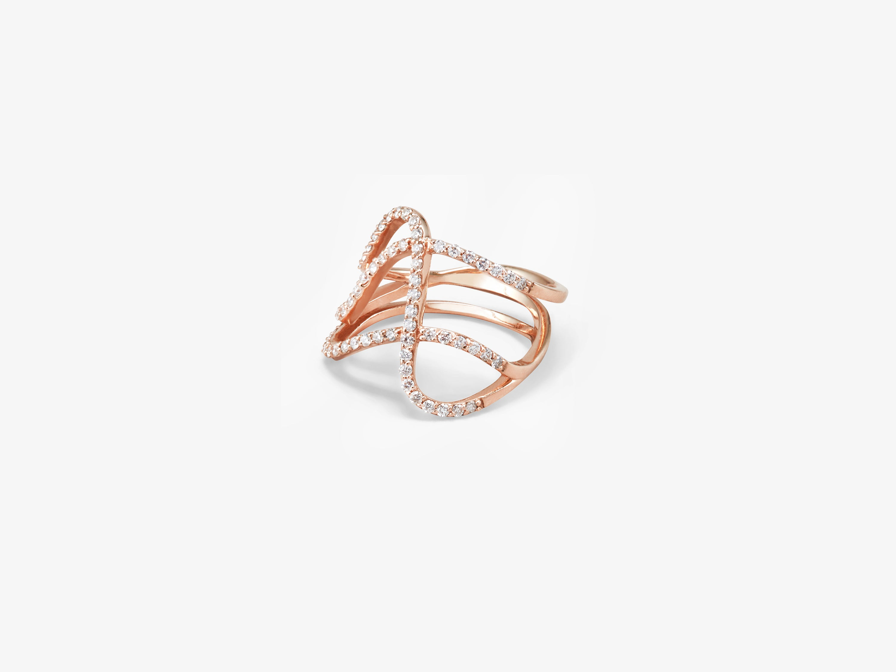 Three Row Curved Ring with Diamond Pavé