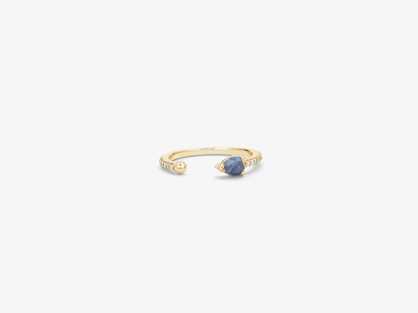 Midi Ring with Diamond Pavé and Rose cut Sapphire Detail
