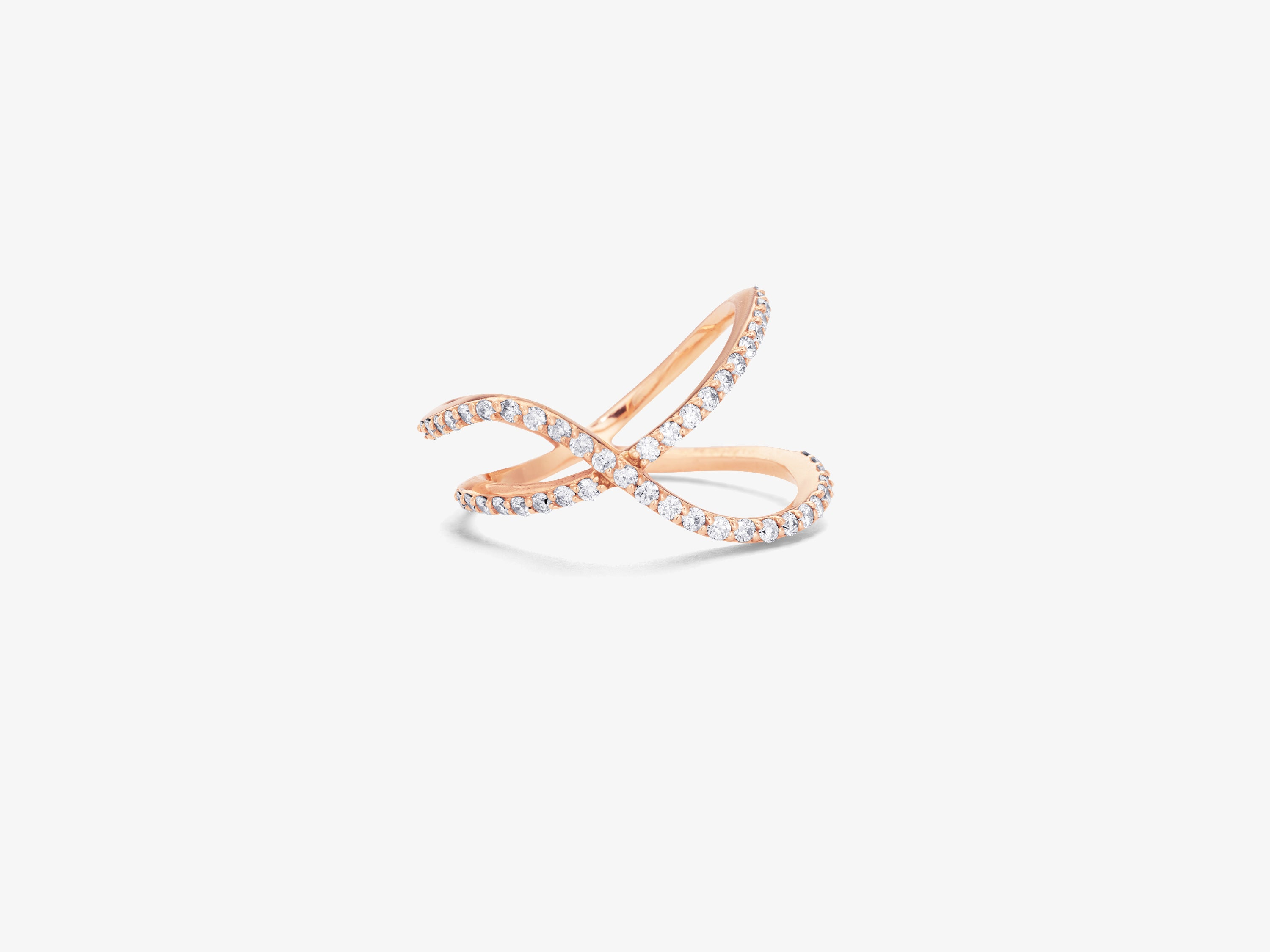 Flou Overlapping Two Row Ring with Diamond Pave