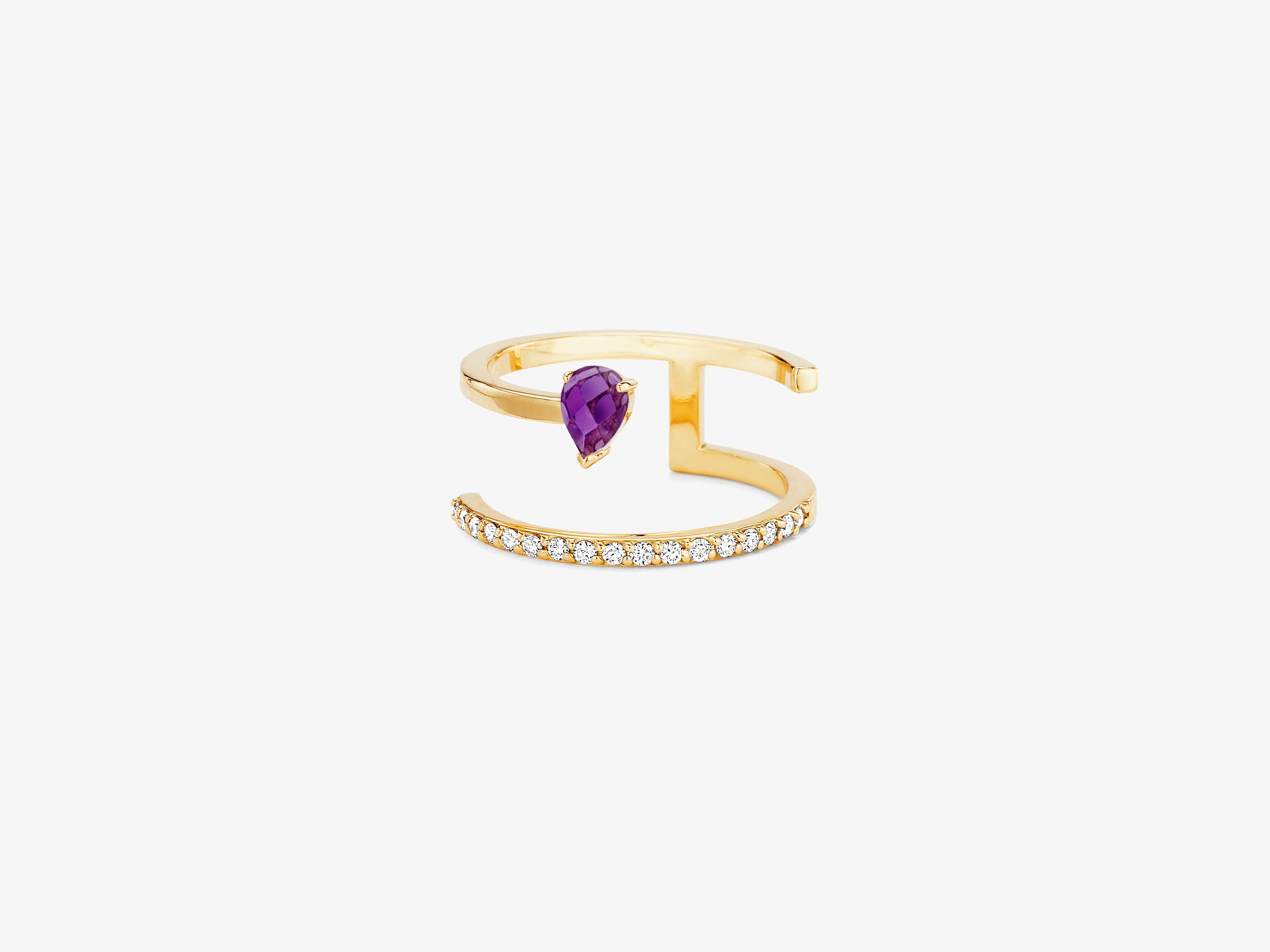 Asymmetrical Two Row Ring with Diamond Pave and Rose Cut Stone Detail