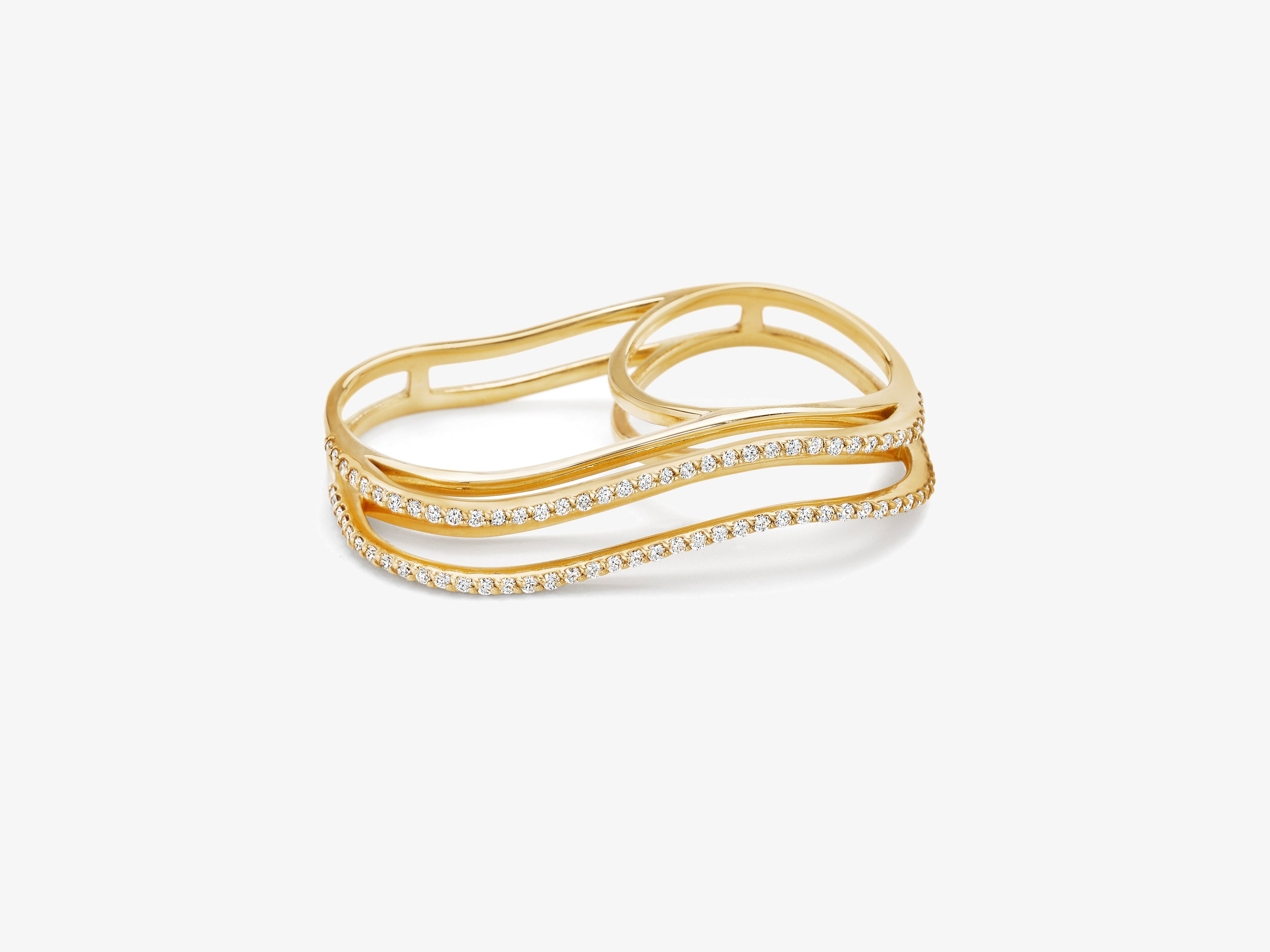 Three Dimensional Wavy Double Finger Ring with Full Diamond Pave