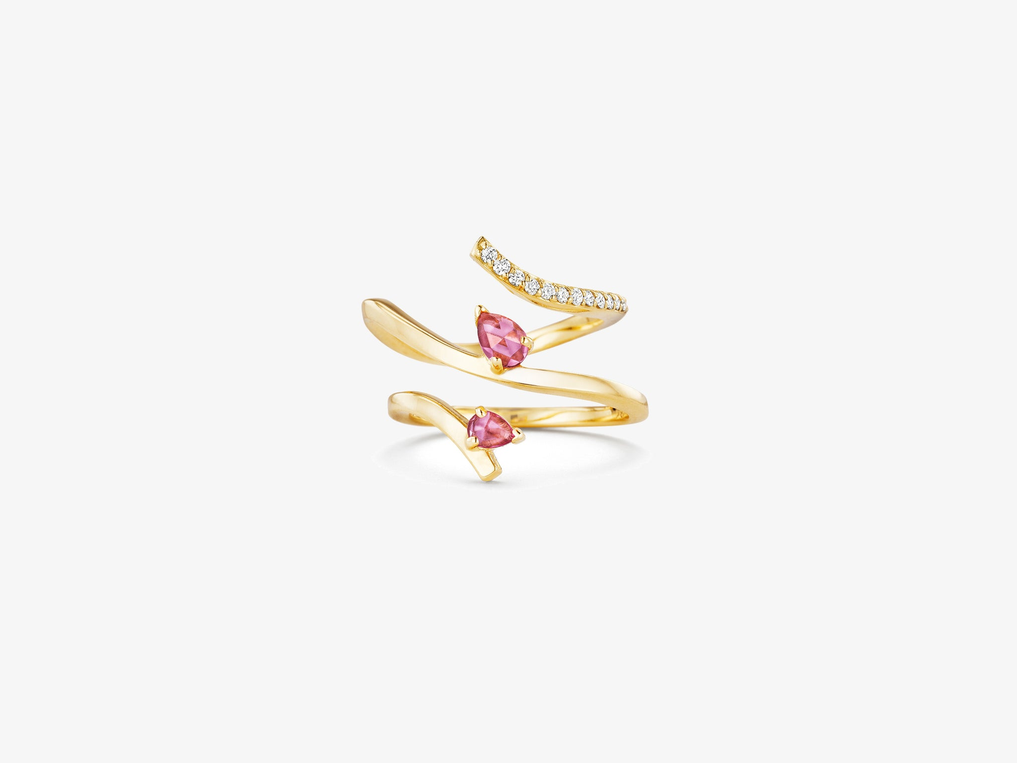Asymmetrical Ring with Single Row of Diamond Pave and Rose Cut Stone Details