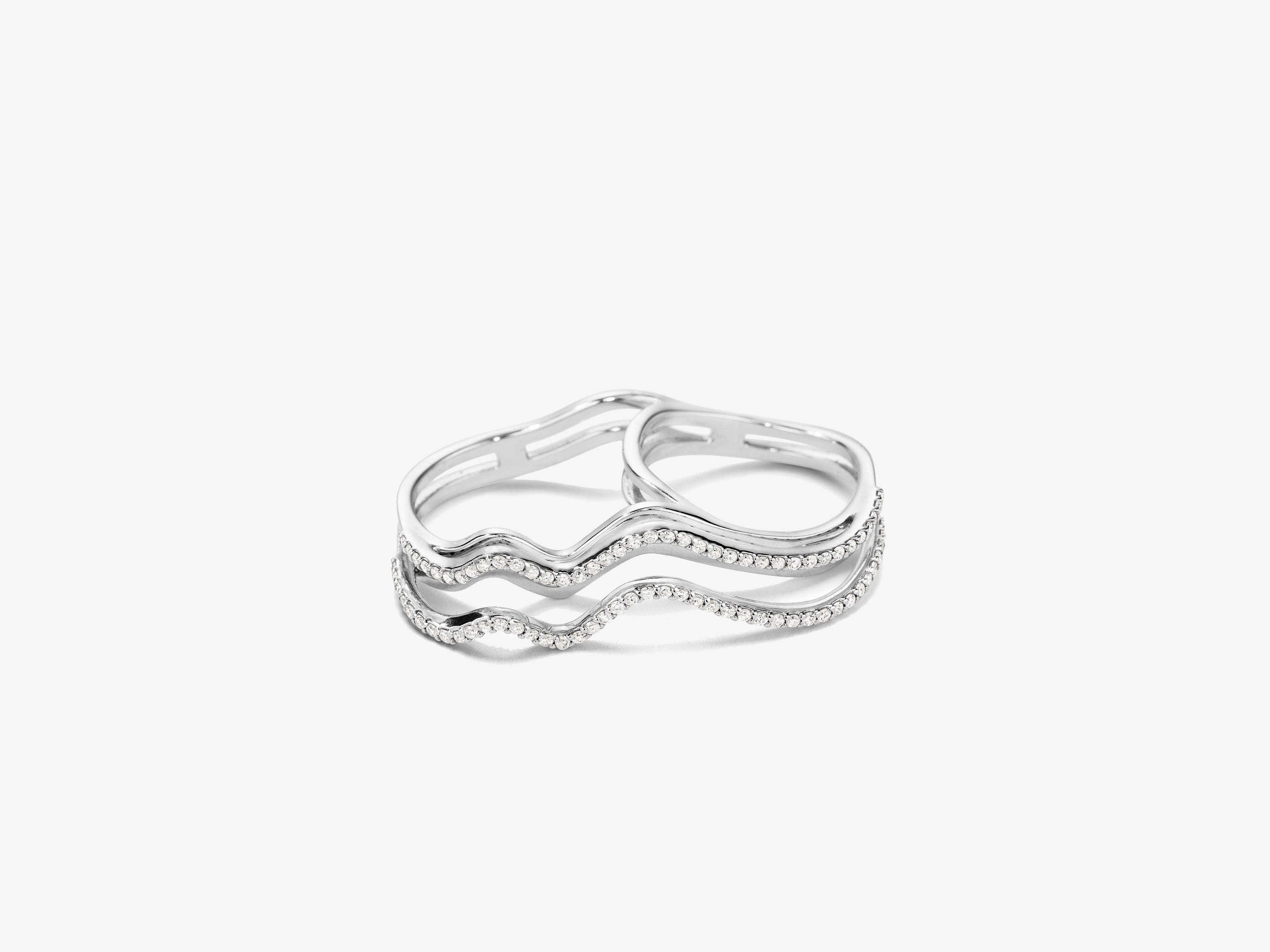 Flow Wavy Three Dimensional Double Finger Ring with Full Diamond Pave