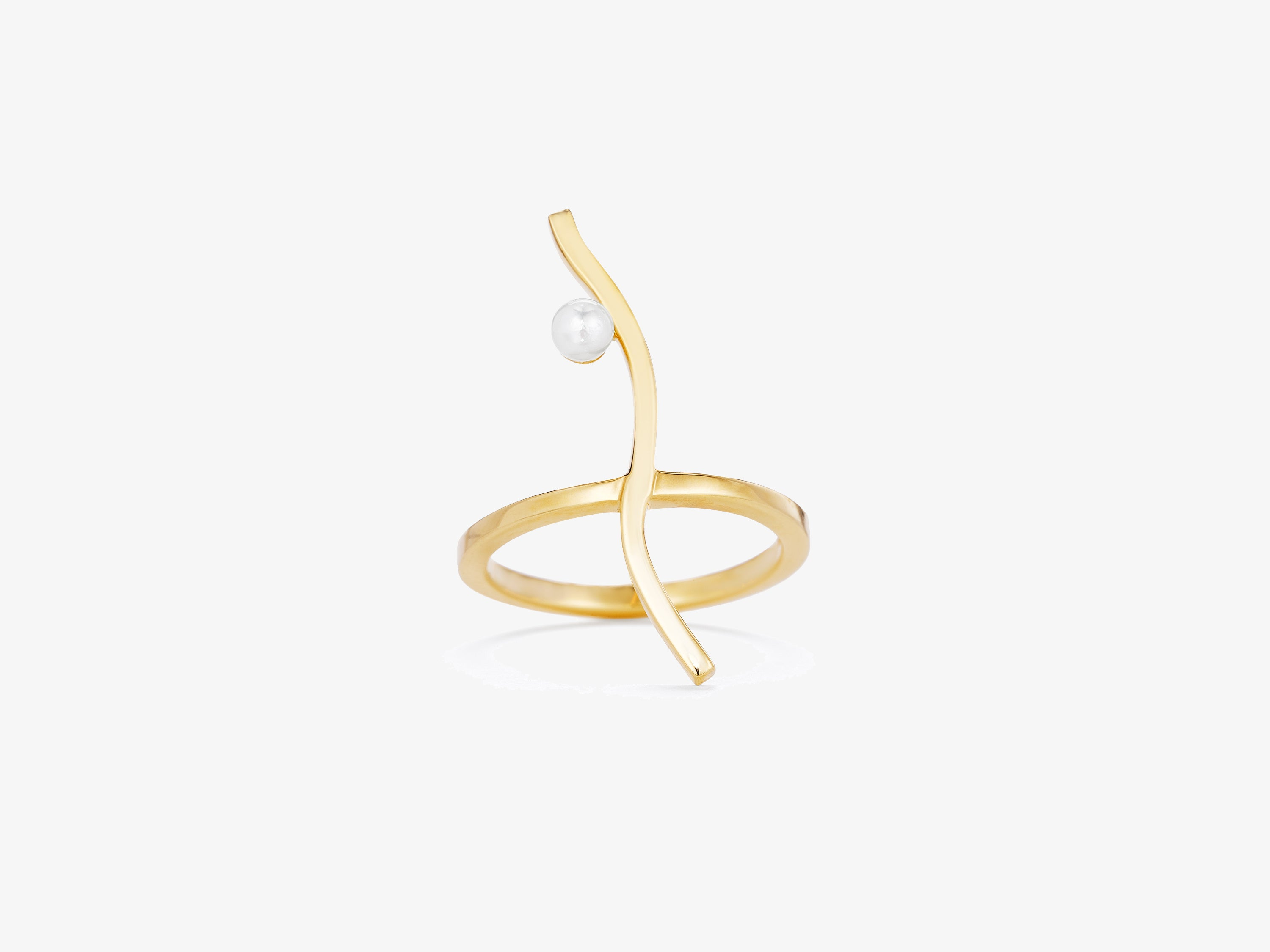 Flou Vertical Curve Ring with Pearl Detail
