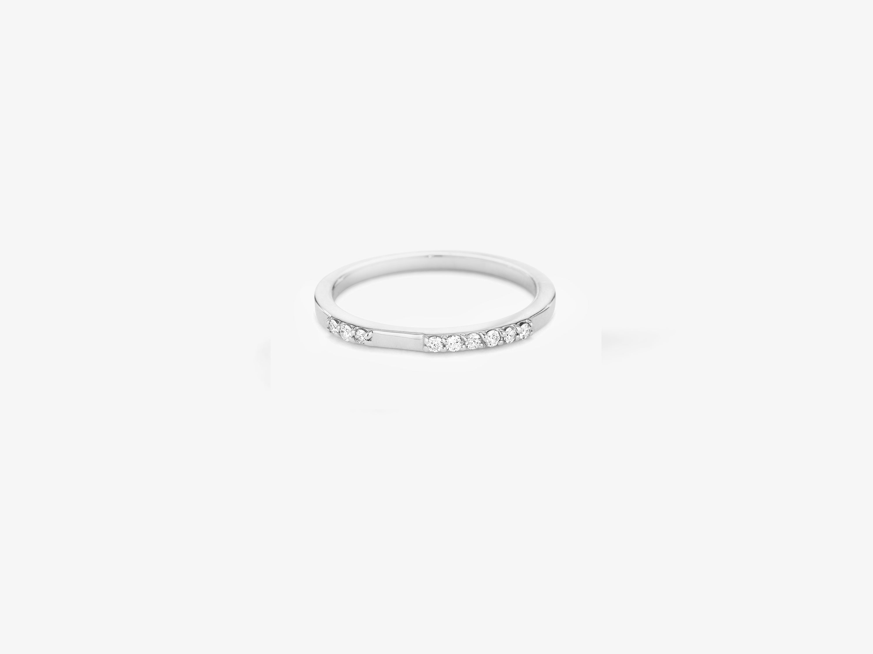 Single Band Ring with Sprinkle of Diamonds Pave