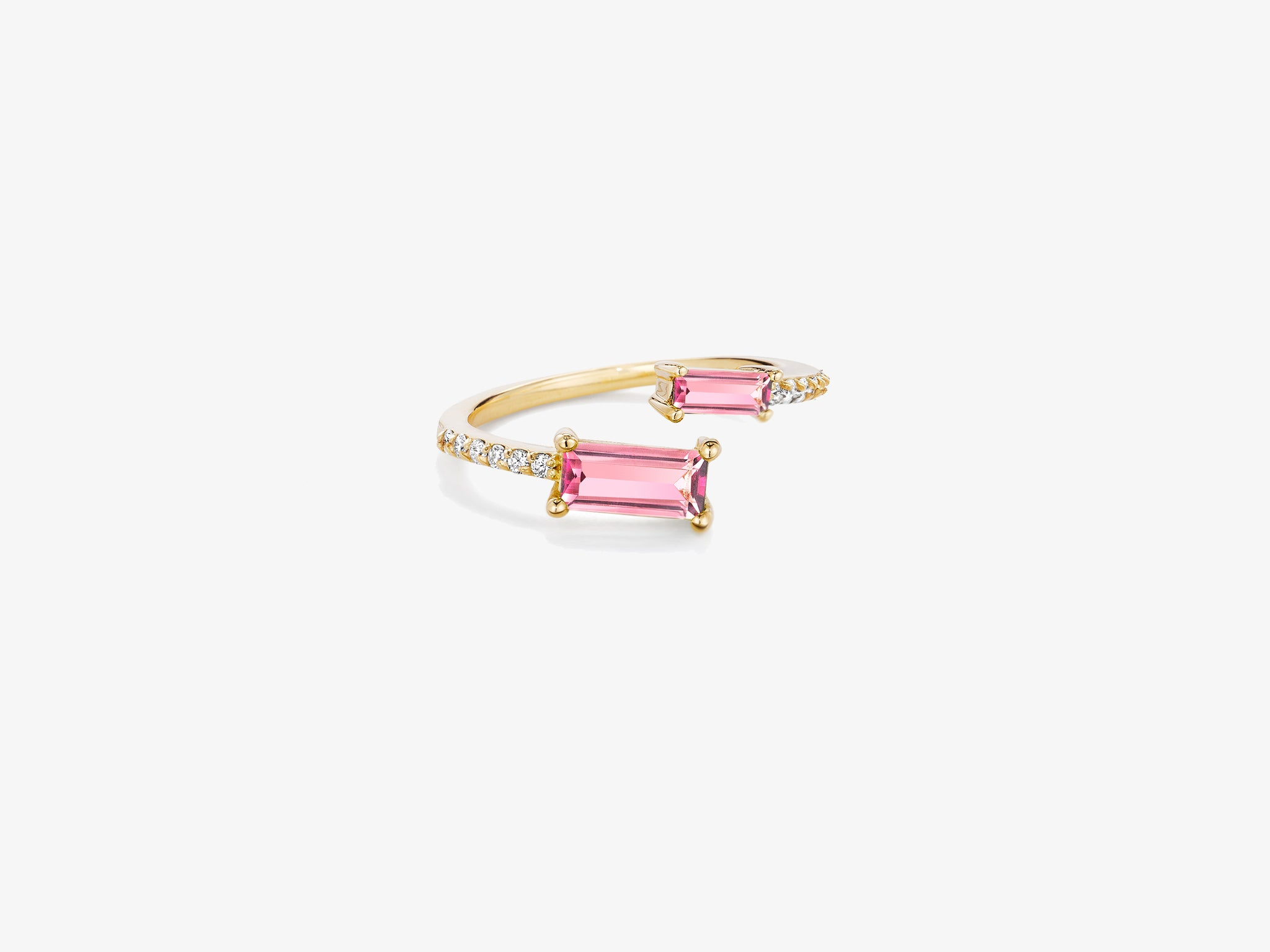 Asymmetrical Diamond Pave Ring with Two Baguette Gemstone Detail