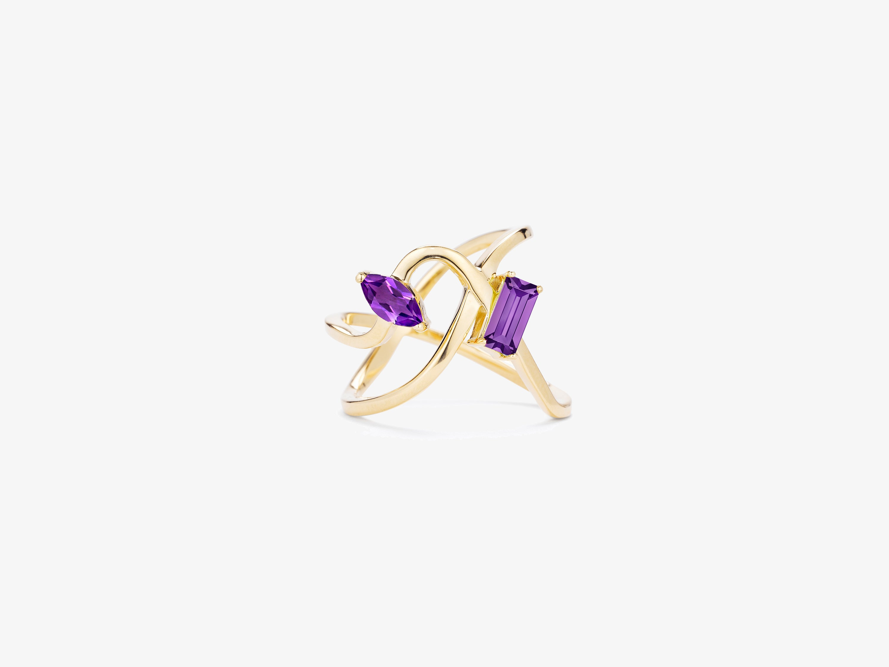 zirconia gold channel ring marquise bypass cut in cubic set gemstone with tcw baguettes white solid