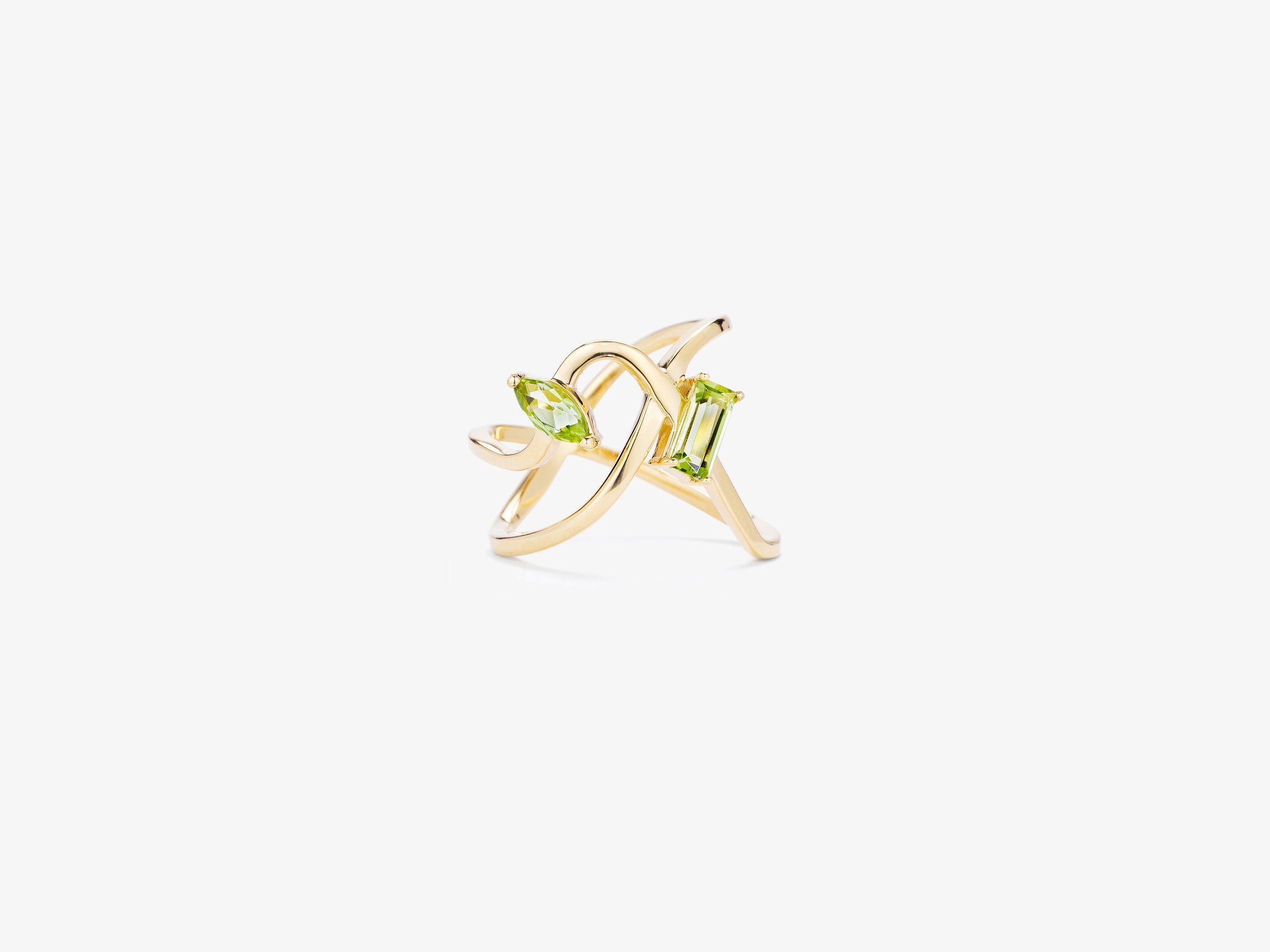 Prism Two Row Curved Ring with Baguette and Marquise Gemstone