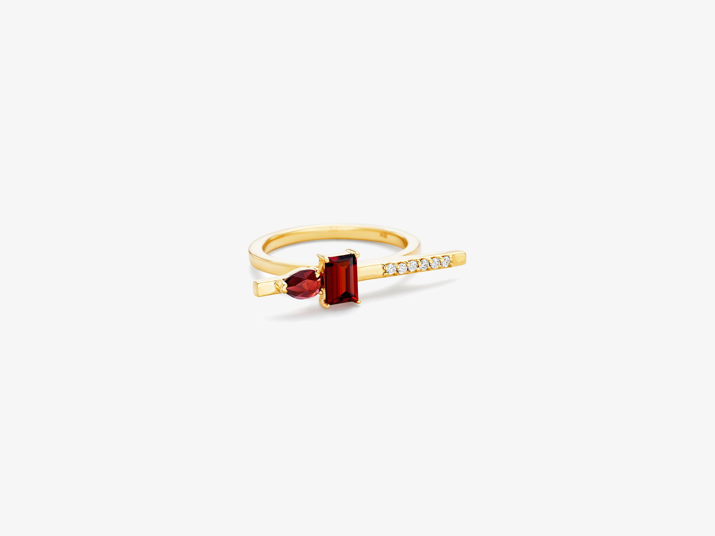 Diamond Bar Ring with Rectangle and Pear Shaped Gemstone Details