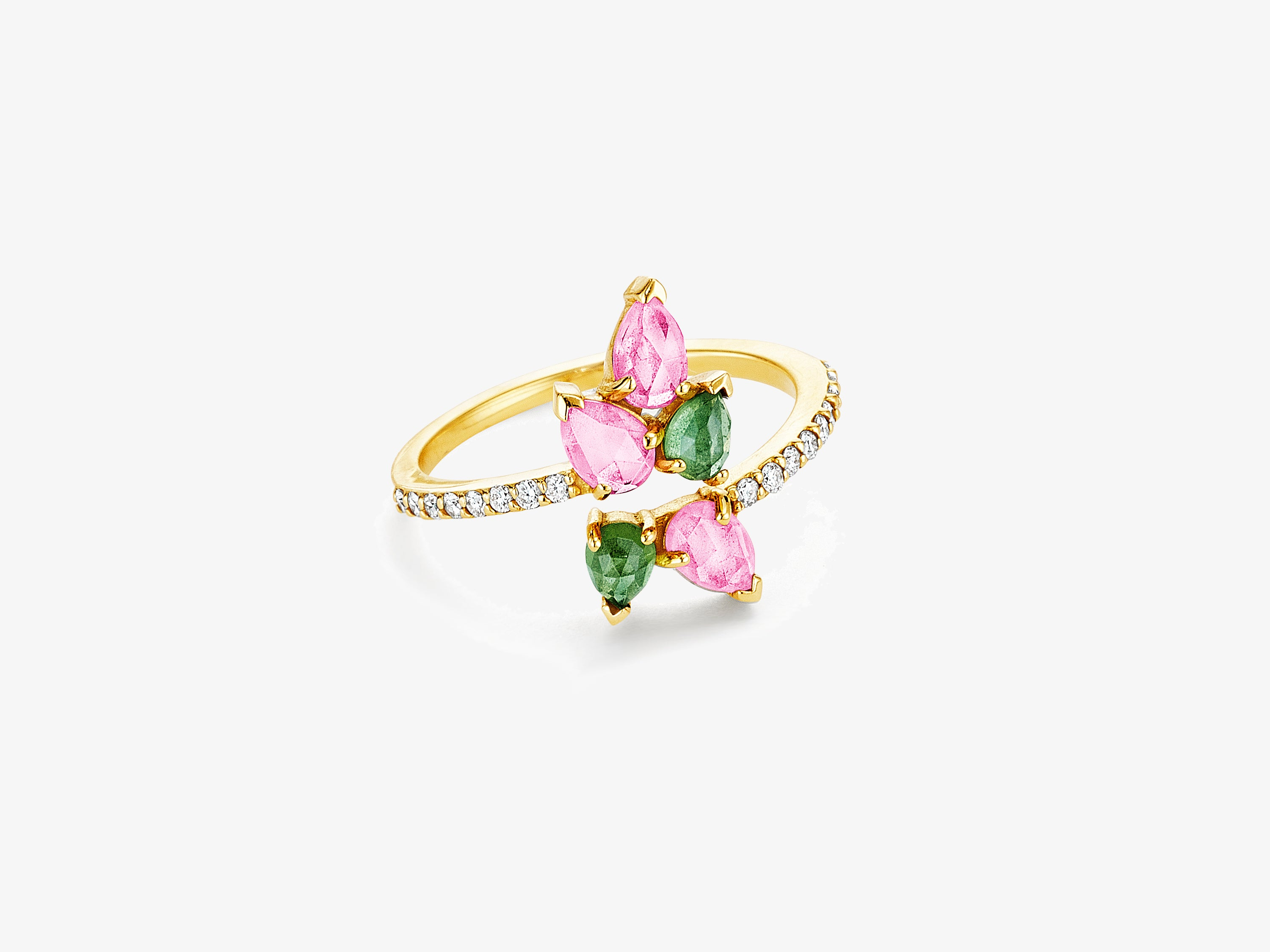 Asymmetrical Diamond Pave Ring with Pear Shaped Gemstone Cluster Details