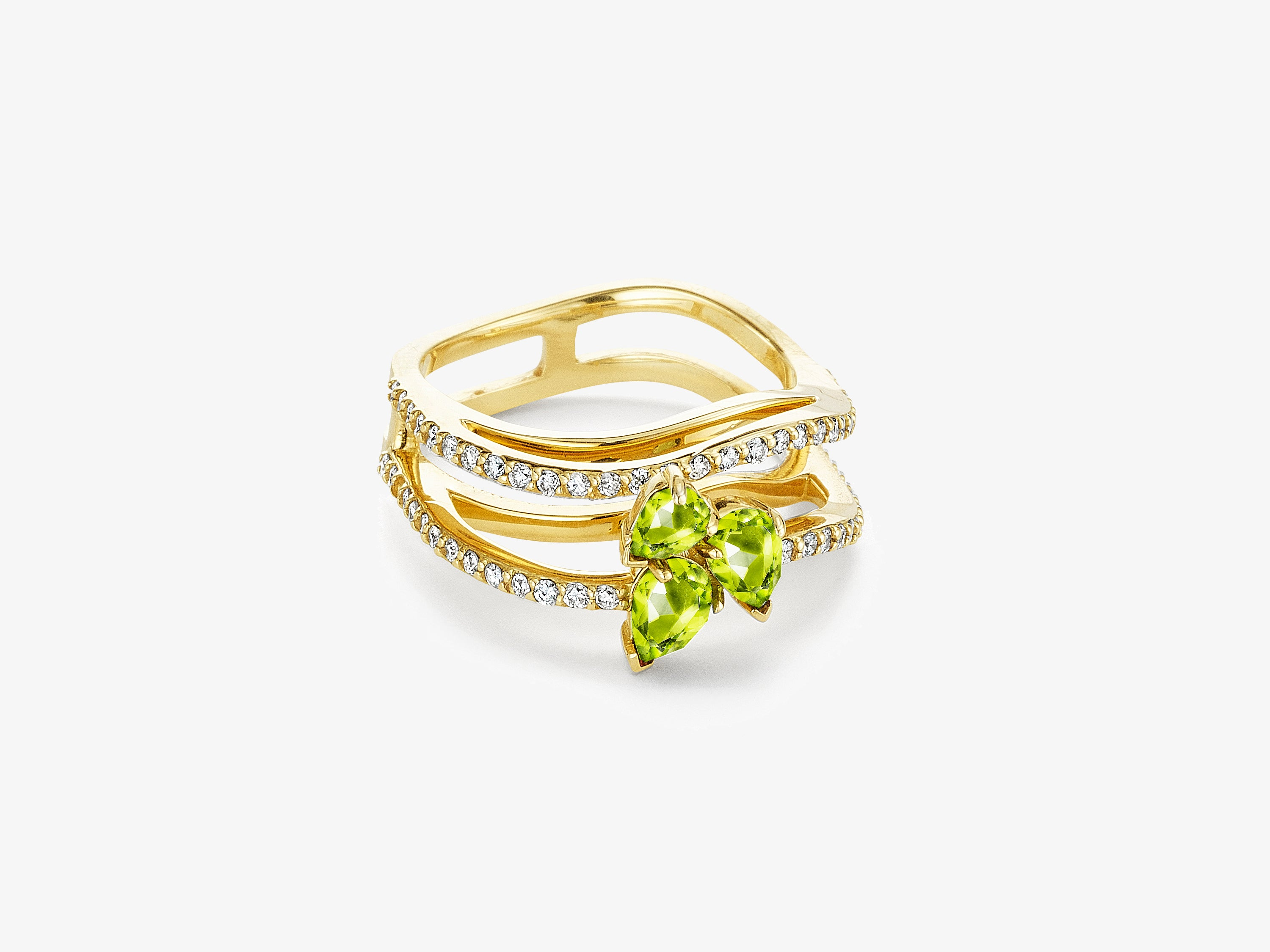 Three Dimensional Wavy Ring with Full Diamond Pave and Pear Shaped Gemstone Cluster Detail