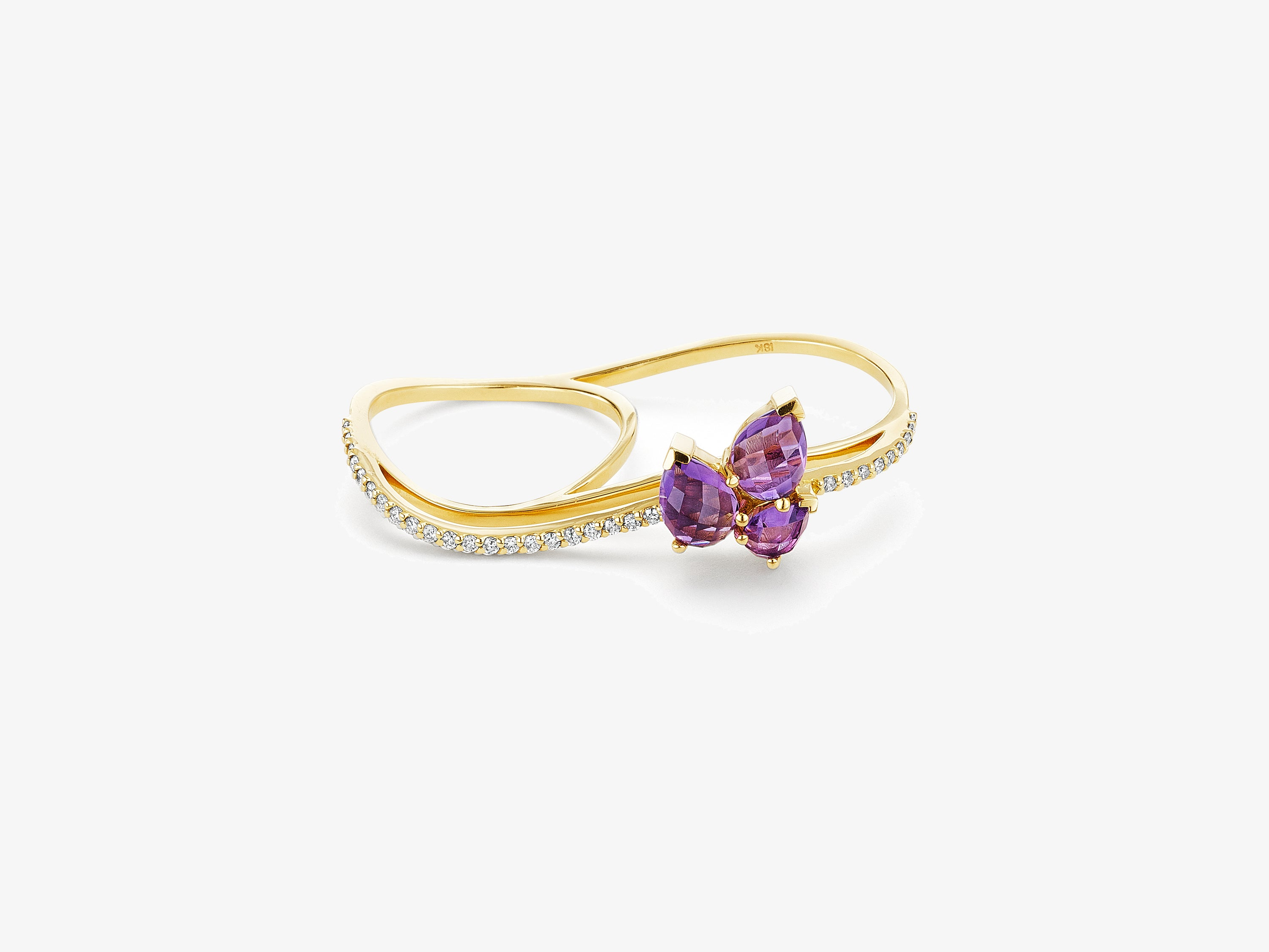 Three Dimensional Wavy Double Finger Ring with Full Diamond Pave and Pear Shaped Gemstone Cluster Detail