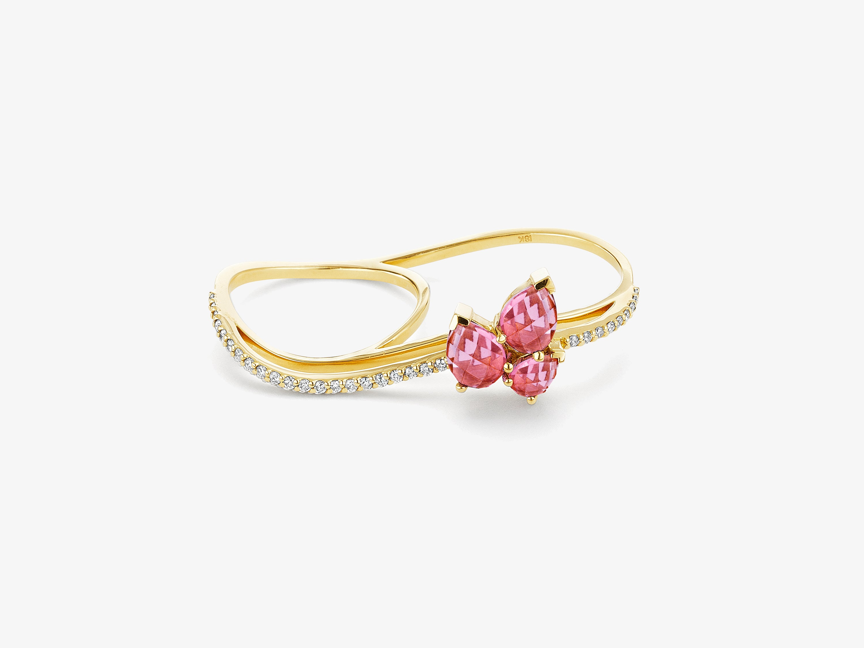 Three Dimensional Wavy Double Finger Ring with Diamond Pave & Pear Shaped Gemstone Cluster Detail