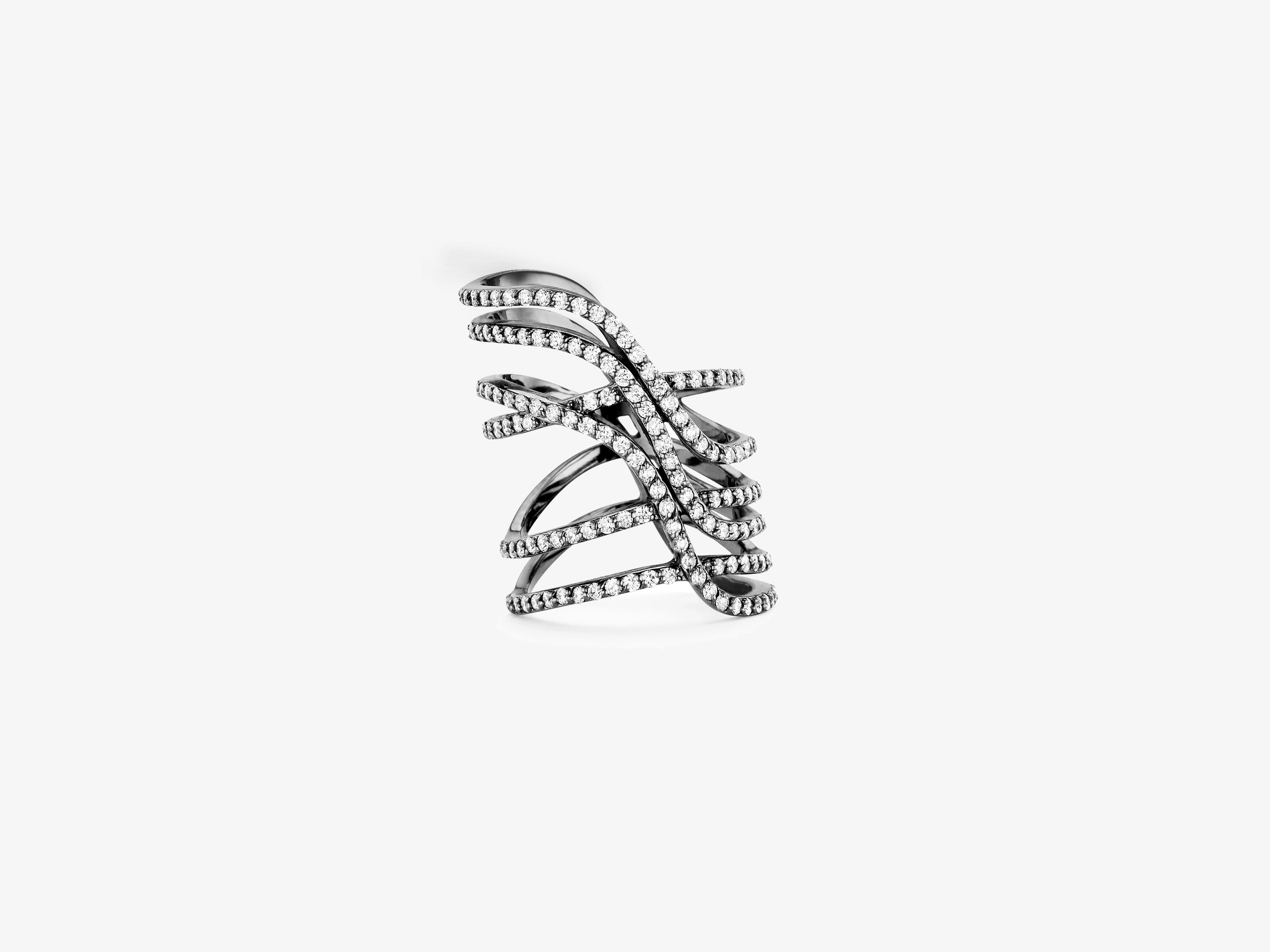 Infinity Six Row Curved Ring with Diamond Pave