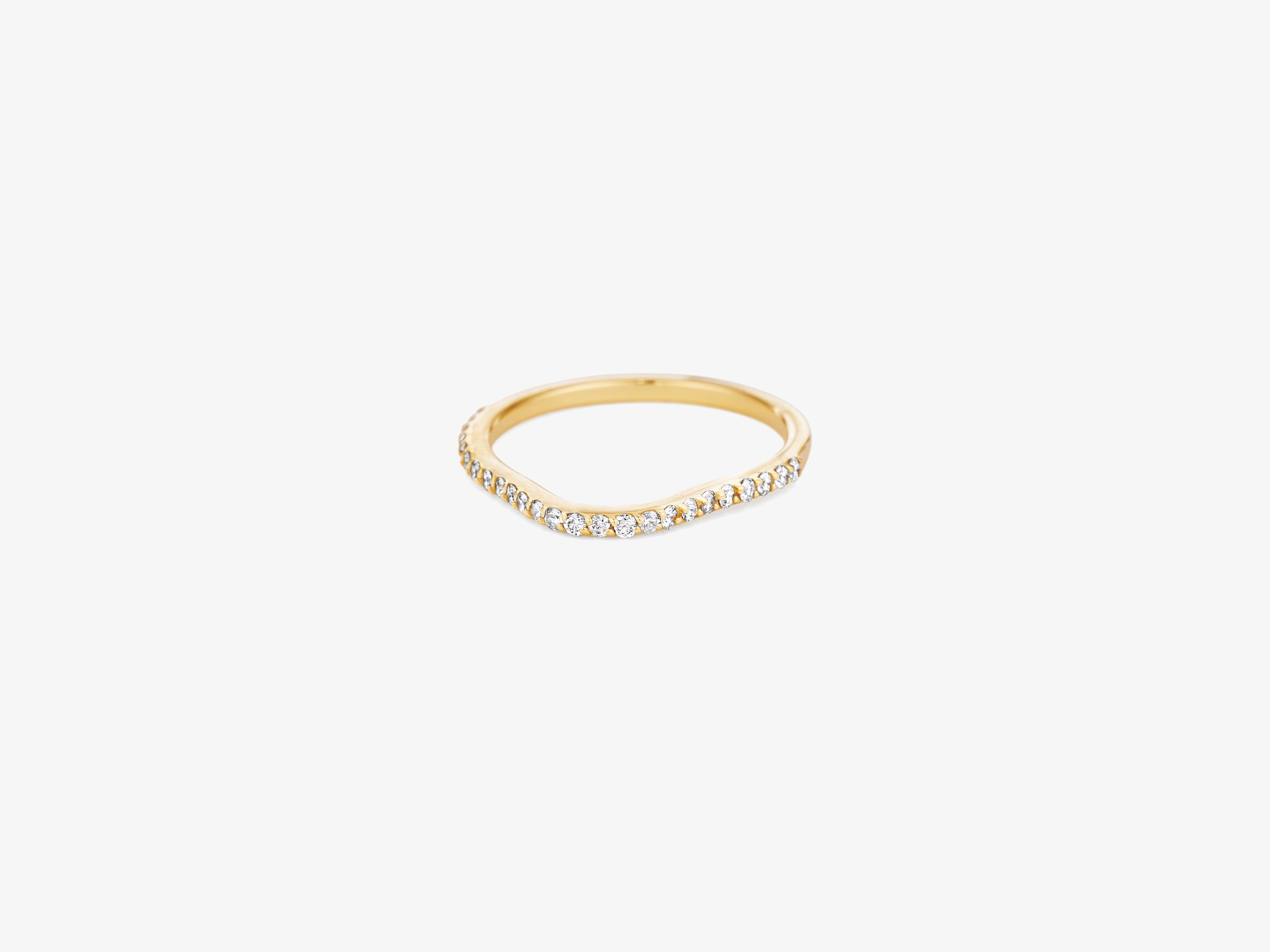 Slender Wavy Ring with Diamond Pave
