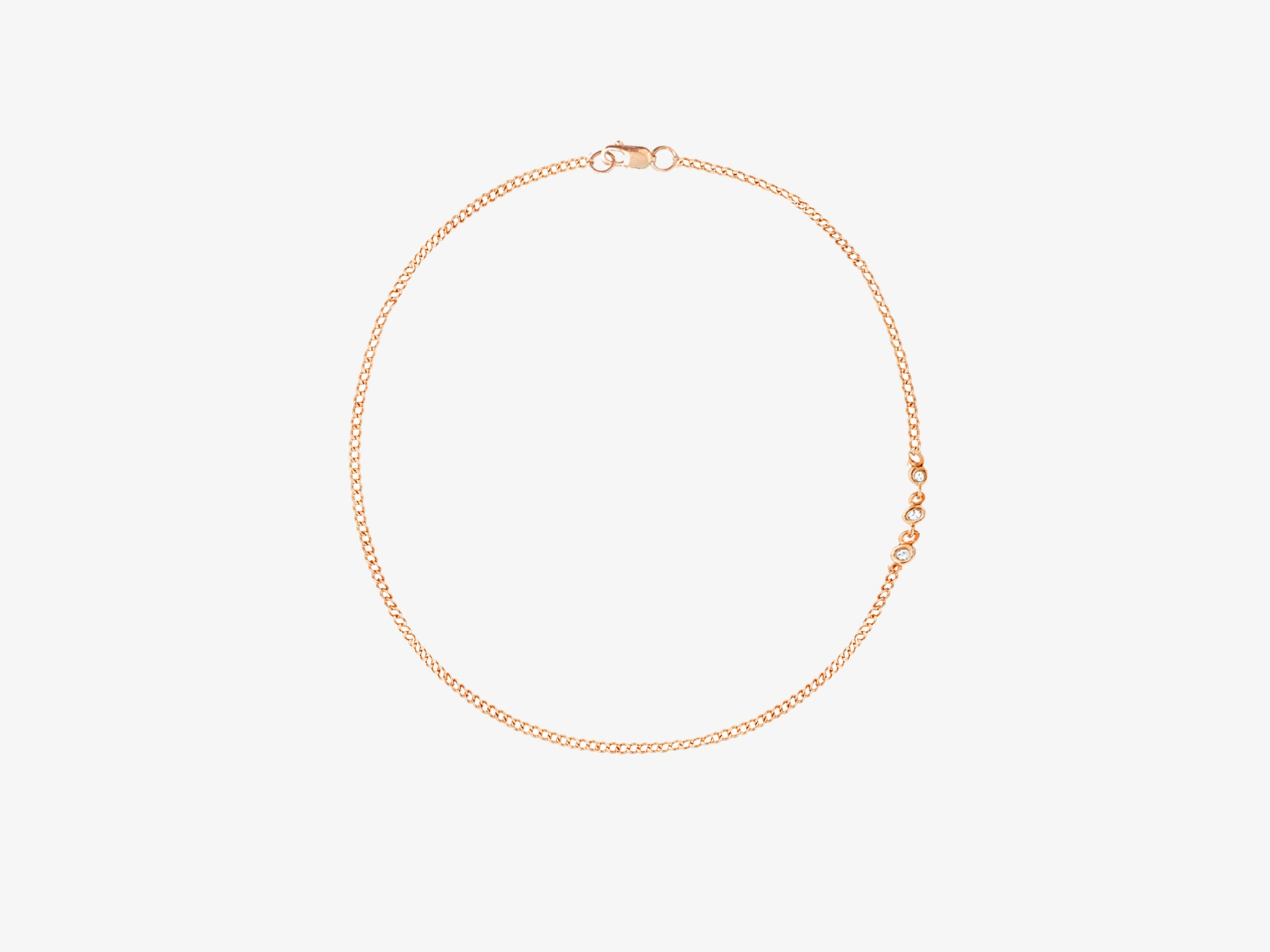 Chain Anklet with Three Diamond Pave Station Details