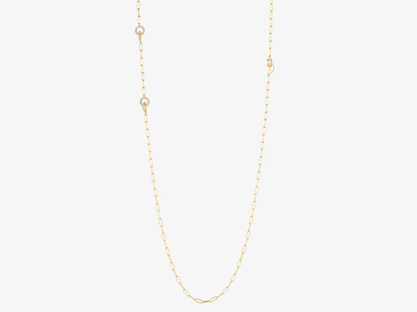 Long Chain Necklace with Three Diamond Pave Circle Stations