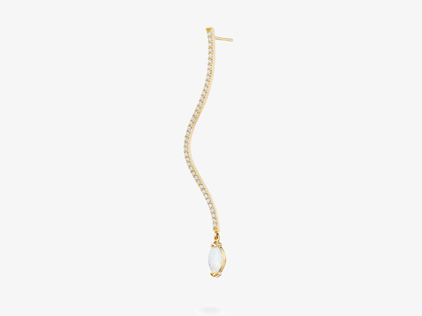 Long Diamond Pave Curved Bar Earring with Marquise Gemstone