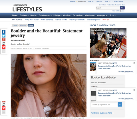 """Boulder and the Beautiful: Statement Jewelry"" Daily Camera"