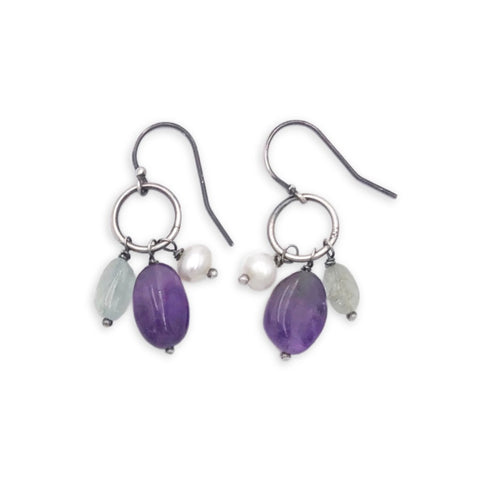Amethyst, Aqua Marine & Pearl Dangle