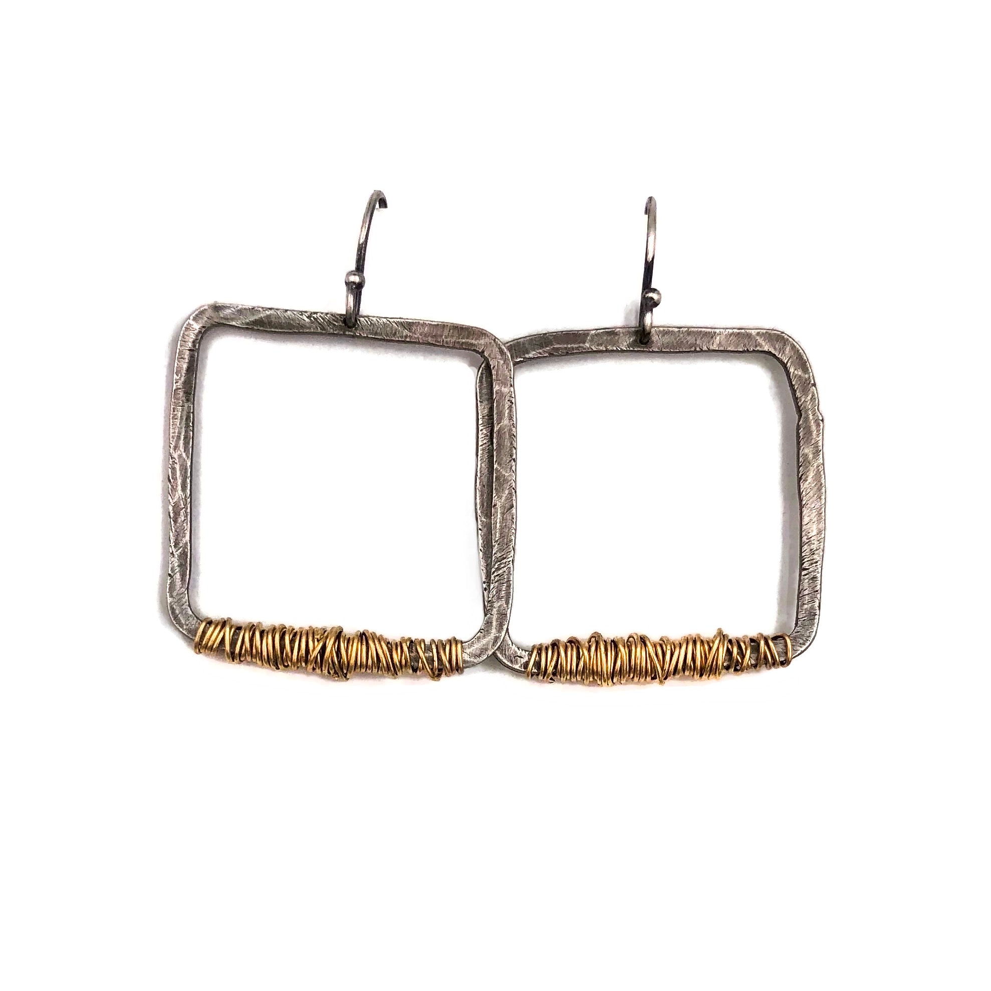 Oxidized Sterling Silver Squares with 14KT Gold Filled Wire