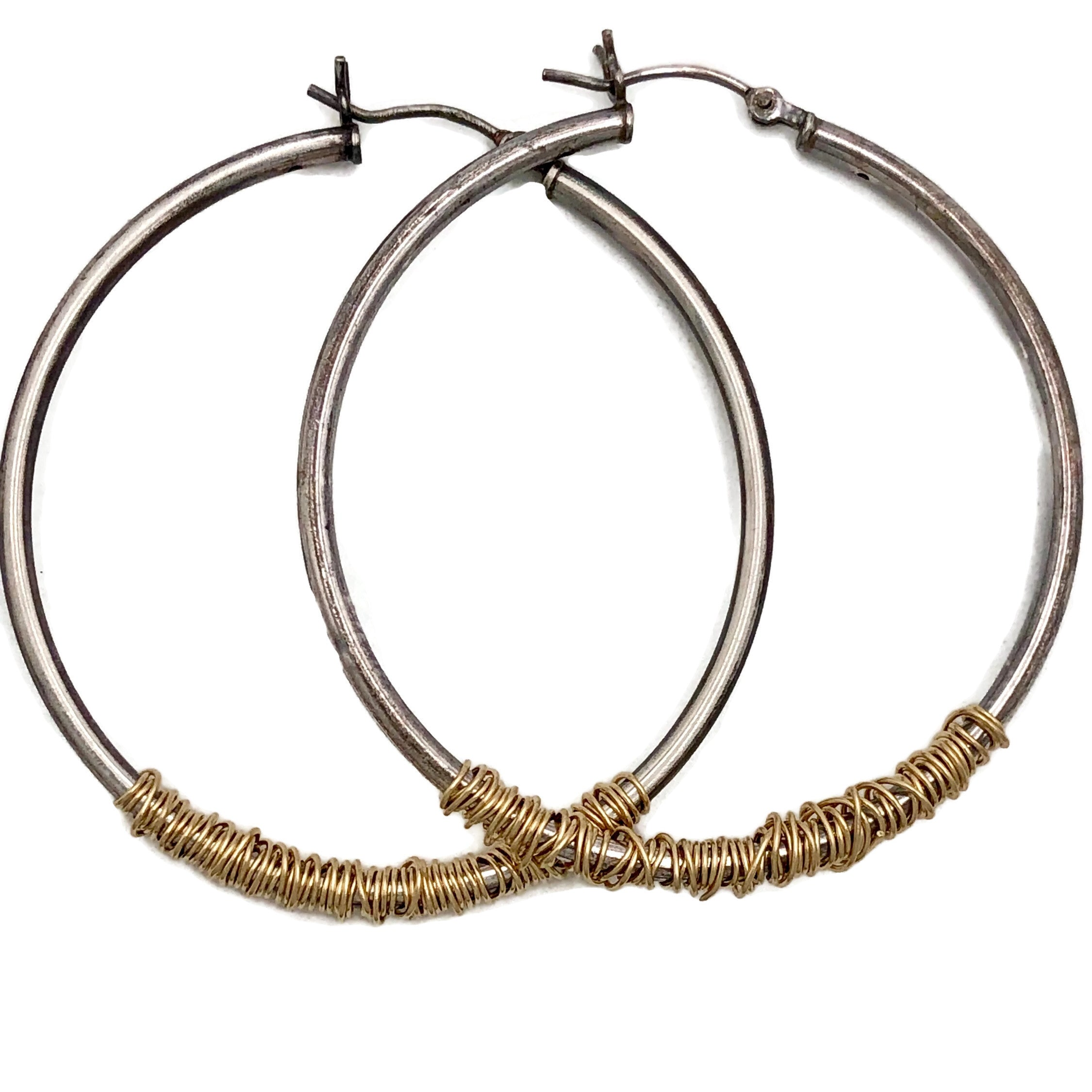 Mixed Metal Large Hoops