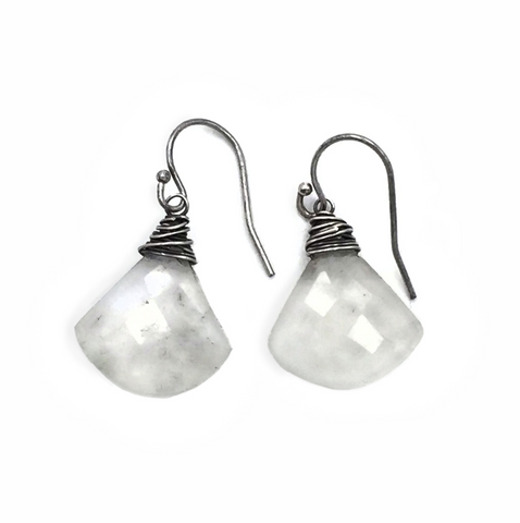 Moonstone Triangle Dangle Earrings