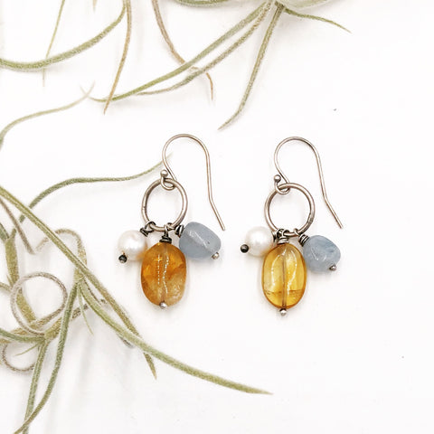 Three stone drop with Citrine, Aqua Marine & Pearl