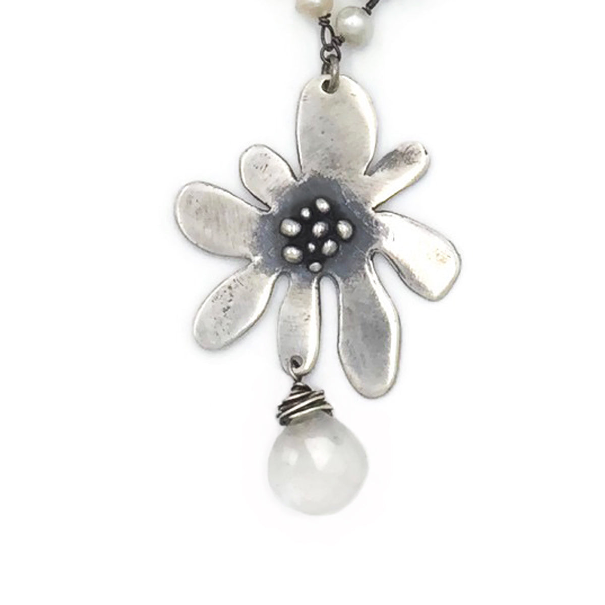 Funky Flower on Pearl Wire Twist