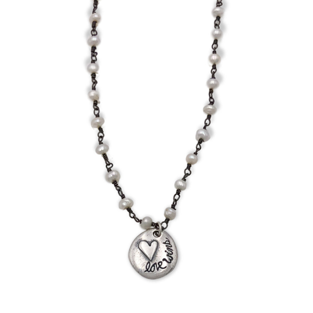 Small Love Wins on Pearl Wire Twist Chain