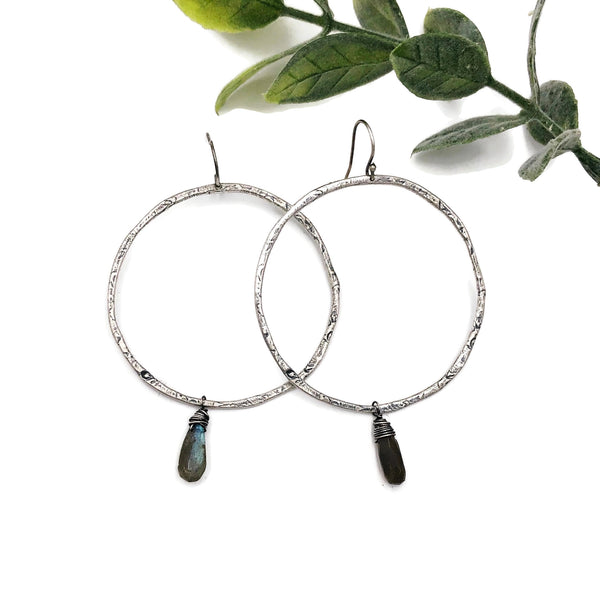 Texturized Oxidized Sterling Silver Hoop