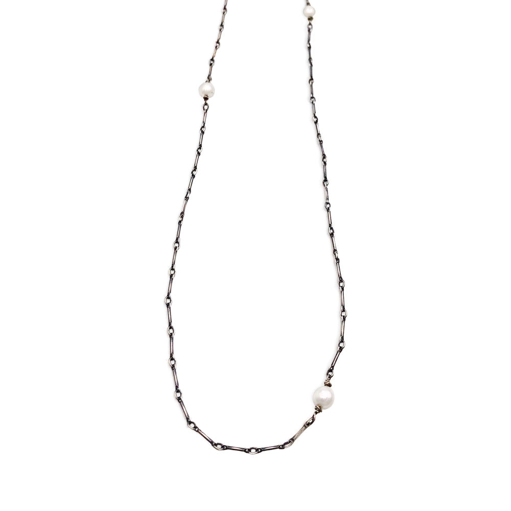 Long & Short Chain Necklace with Pearls.