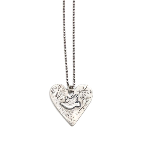 Heart Necklace with Dove