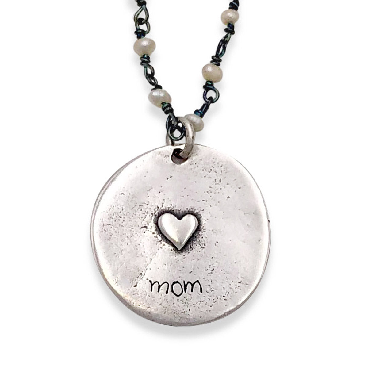 Mom Necklace on Tiny Pearl Wiretwist