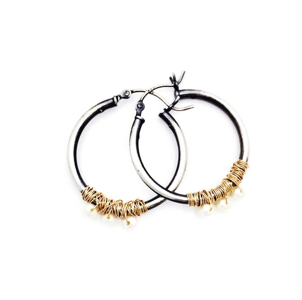 Pearl and Gold Filled Hoops