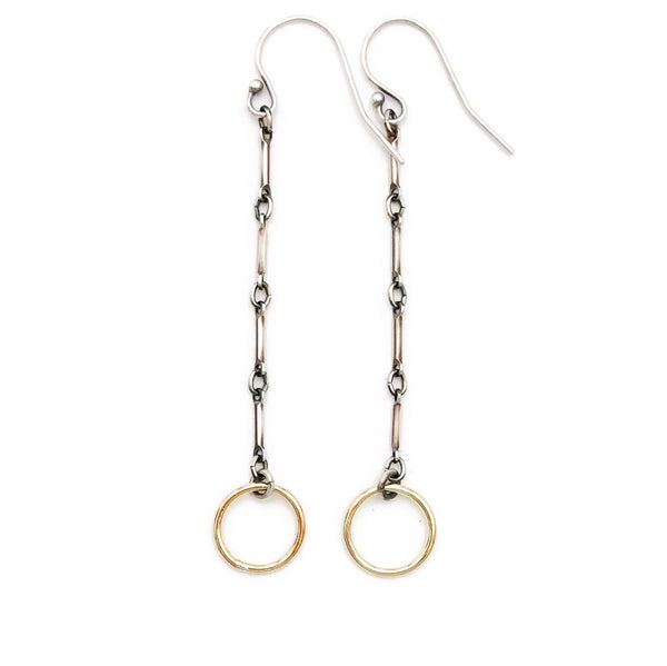 Gold and silver loop dangles