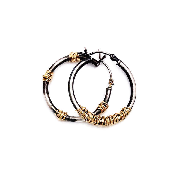 Miss-matched Gold and Silver Hoops