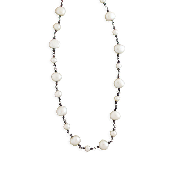 Large Beaded Pearl Chain Necklace