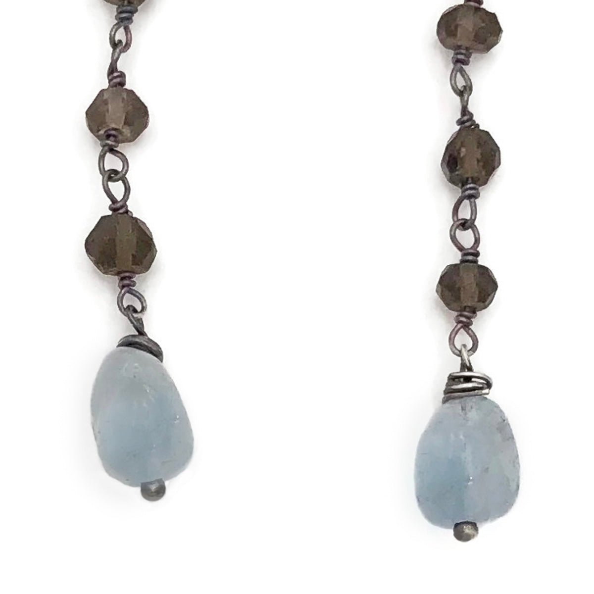 Smokey quartz with Aqua marine drop