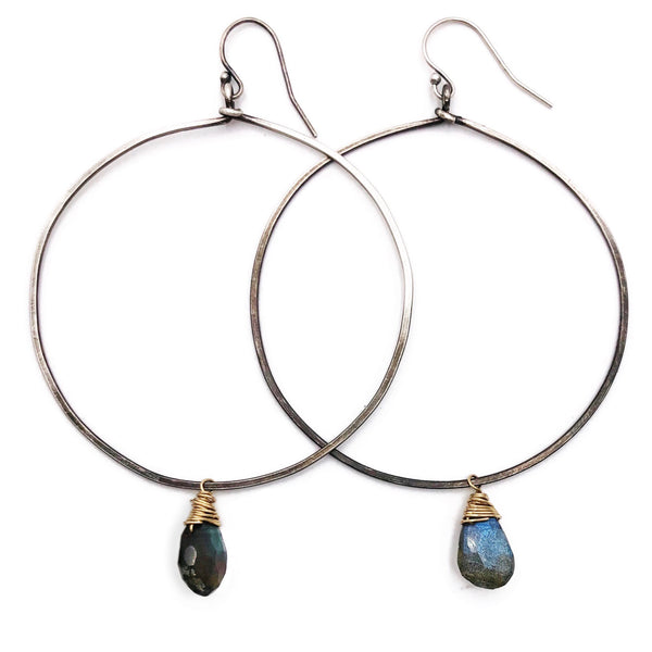 Oxidized, hammered Sterling Silver Hoops