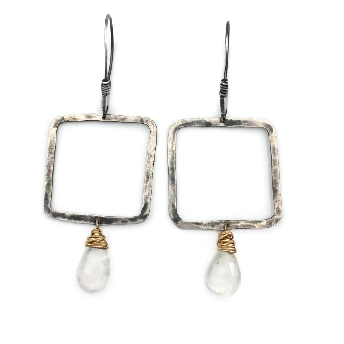 Square gold and silver with gemstone